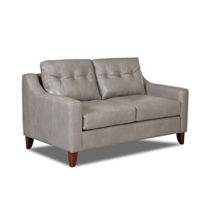 Loring Leather Down Blend Loveseat, Gray