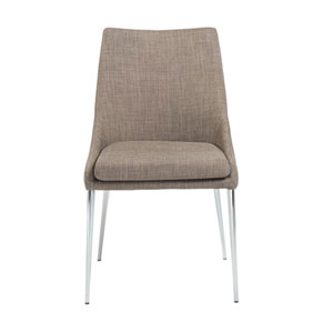 Uptown Dining Chair in Dark Gray with Chrome Legs, Set of 2