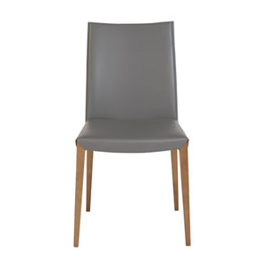 Loring Dining Chair in Anthracite with Walnut Legs, Set of 2