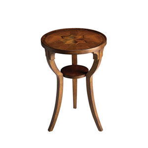 Evelyn Olive Ash Burl Round Accent Table