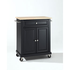 Afton Natural Wood Top Portable Kitchen Cart/Island in Black Finish