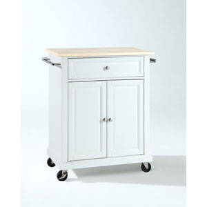 Hayden Natural Wood Top Portable Kitchen Cart/Island in White Finish