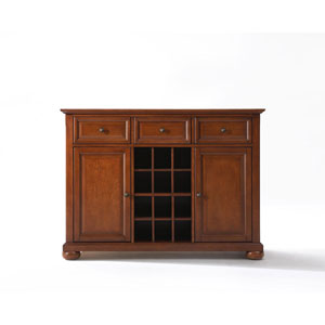 Wellington Buffet Server/Sideboard Cabinet with Wine Storage in Classic Cherry Finish