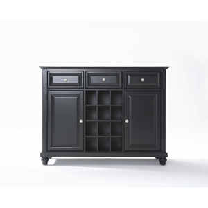 Evelyn Buffet Server/Sideboard Cabinet with Wine Storage in Black Finish