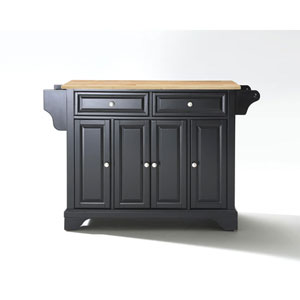 Afton Natural Wood Top Kitchen Island in Black Finish
