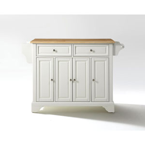 Hayden Natural Wood Top Kitchen Island in White Finish