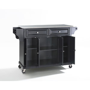Afton Stainless Steel Top Kitchen Cart/Island in Black Finish