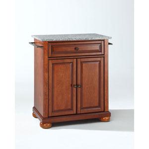 Wellington Solid Granite Top Portable Kitchen Island in Classic Cherry Finish