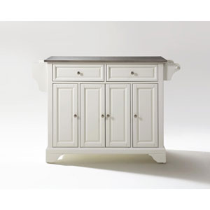 Hayden Stainless Steel Top Kitchen Island in White Finish