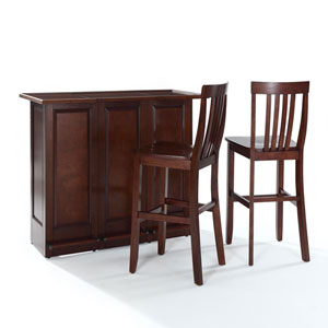 Evelyn Mobile Folding Bar in Vintage Mahogany Finish With 30-Inch Stool in Mahogany Finish