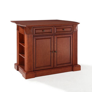 Evelyn Drop Leaf Breakfast Bar Top Kitchen Island in Classic Cherry Finish