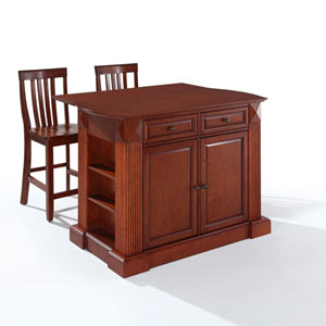 Evelyn Drop Leaf Breakfast Bar Top Kitchen Island in Cherry Finish with 24-Inch Cherry School House Stools