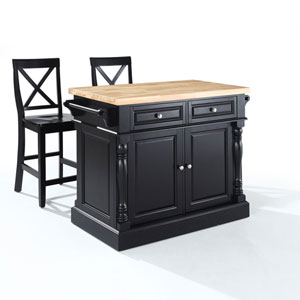 Afton Butcher Block Top Kitchen Island in Black Finish with 24-Inch Black X-Back Stools