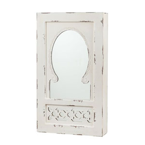 Grace Antique White Wall Mount Jewelry Mirror