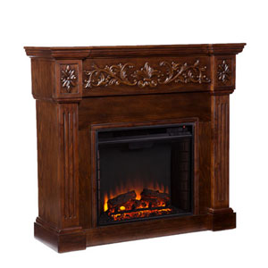 Wellington Espresso Carved Electric Fireplace