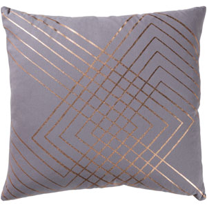 Monroe Gray and Gold 20 In. Throw Pillow with Poly Fill