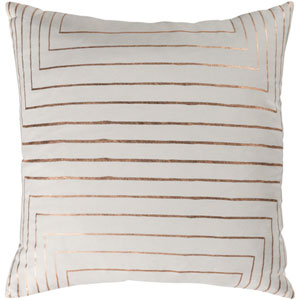 Monroe Cream and Copper 18 In. Throw Pillow