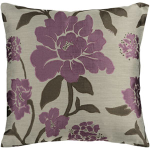 Evelyn Purple Blossom 18 In. Throw Pillow with Poly Fill
