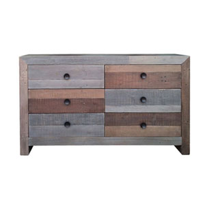 Afton Multicolor Six Drawer Dresser