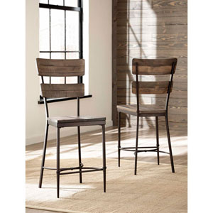 River Station Distressed Walnut Non-Swivel Counter Stool, Set of 2