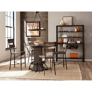 River Station Five Piece Round Counter Height Dining Set with Non-Swivel Counter Stools