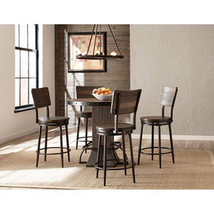 River Station Five Piece Round Counter Height Dining Set with Swivel Counter Stools
