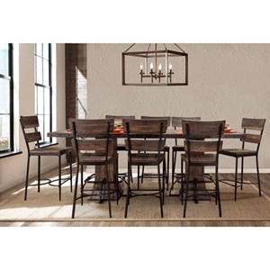 River Station Nine Piece Rectangle Counter Height Dining Set with Non-Swivel Counter Stools