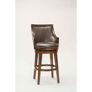 Wellington Rustic Oak Upholstered 30.5-Inch Back Wood Swivel Barstool