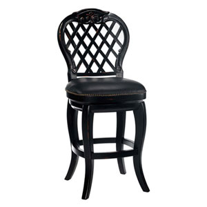 Wellington Black Honey Wood Lattice Back Swivel Barstool