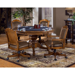 Wellington Brown Game Table Set with Four Chairs
