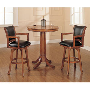 Wellington Medium Brown Oak 42-Inch Bistro Table and Two Bar Stools