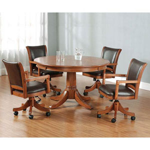 Wellington Medium Brown Oak Game Table and Four Game Chairs