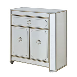 Evelyn Silver and Mirrored One Drawer Two Door Cabinet