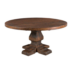 Afton Distressed Brown Round Dining Table