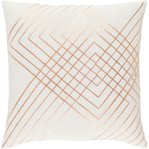 Monroe Cream and Copper 18 In. Throw Pillow with Poly Fill
