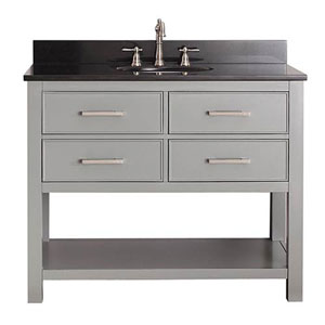 Cooper Chilled Gray 42-Inch Vanity Combo with Black Granite Top