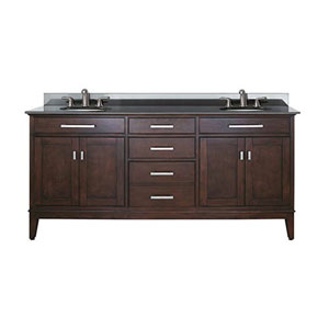 Evelyn Light Espresso 72-Inch Double Sink Vanity with Black Granite Top