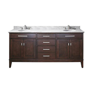 Evelyn Light Espresso 72-Inch Double Sink Vanity with Carrera White Marble Top