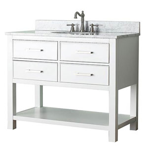 Grace White 42-Inch Vanity Combo with Carrera White Marble Top