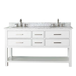 Grace White 60-Inch Vanity Combo with Carrera White Marble Top