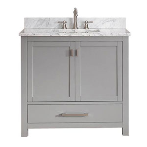 Nicollet Chilled Gray 36-Inch Vanity Combo with White Carrera Marble Top
