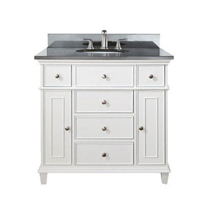 Selby 36-Inch White Vanity with Black Granite top and Undermount Sink