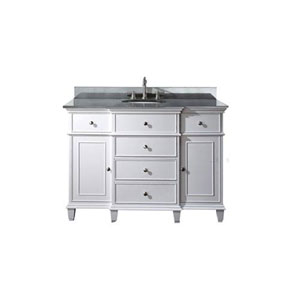 Selby 48-Inch White Vanity with Black Granite top and Undermount Sink