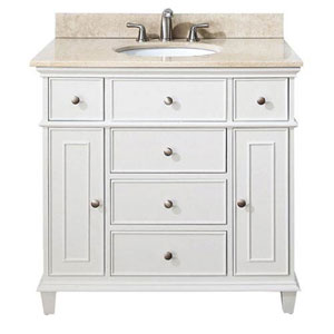 Selby White 36 Inch Vanity With Galala Beige Marble Top