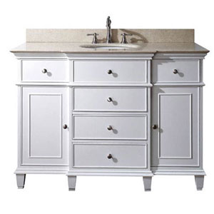 Selby White 48 Inch Vanity With Galala Beige Marble Top