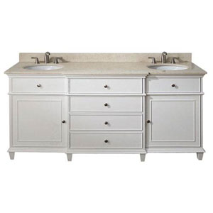 Selby White 72 Inch Vanity With Galala Beige Marble Top and Dual Sinks