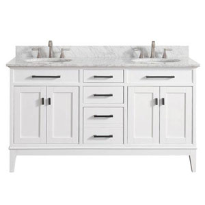 Whittier White 61-Inch Double Sink Vanity Combo