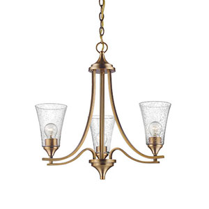 Whittier Bronze Three-Light Chandelier with Seeded Glass