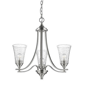 Whittier Satin Nickel Three-Light Chandelier with Seeded Glass