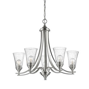 Whittier Satin Nickel Five-Light Chandelier with Seeded Glass